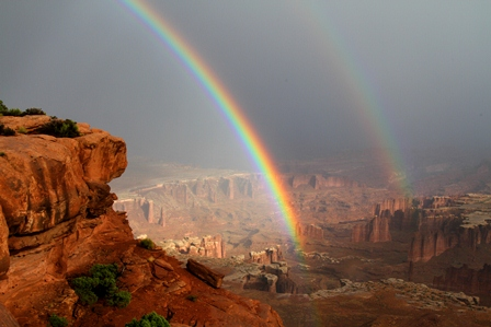 Photograph of a double rainbow taken in Canyonlands National Park, Utah