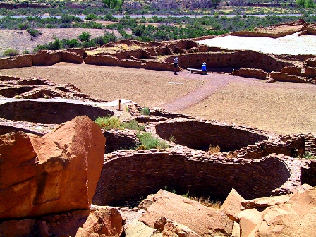 Photo of some of the many Kivas at Chaco Canyon taken on tour with Tour The Southwest .com